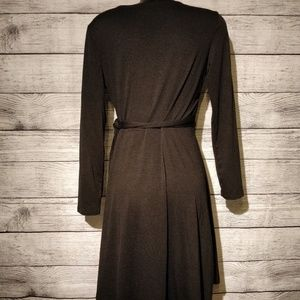 Allison Brittney Dresses - Black Long Sleeve Faux Flare Wrap Dress